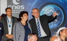 Bourget 2017 :  Jean-Marc ASTORG, Directeur des lanceurs du CNES, Bernard ASSIE, Président de CEGELEC Projets Espace et Caraïbes, Marc ELIAYAN, Président de LATECOERE Services et Xavier VIGOR, Directeur Général de AIR LIQUIDE Advanced Technologies.